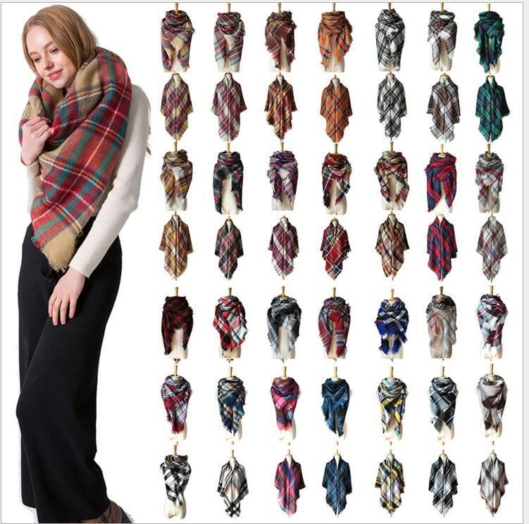 Lattice mantón Wraps mantón del aire acondicionado Moda Mantas mujeres Plaid Bufandas grid girl borla Bufanda femenina populares 140 * 140 cm YL24