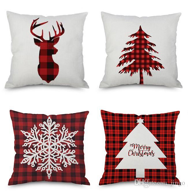DHL 45X45 cm Christmas Throw Pillow Case Linen Decorative Pillowcase Pillow Cover Home Car Sofa Decor Cushion NT