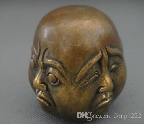 Talla coleccionable 4 caras Estado de ánimo Buda Cobre Estatua Complacido Enojo Dolor Feliz
