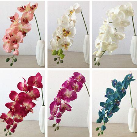 도매 (10pcs / lot) 인공 가짜 Phalaenopsis 나비 난초 꽃 Cymbidium은 결혼식 장식을위한 실크 꽃을 공급합니다.