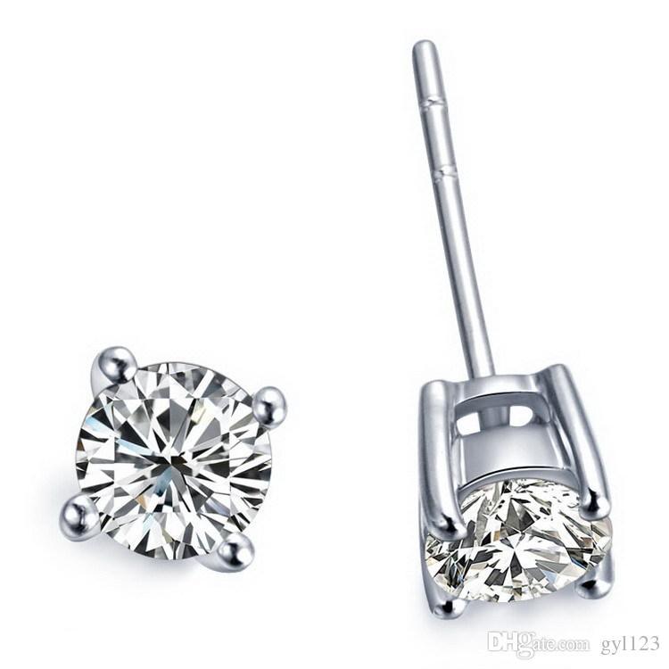 여성을위한 바구니 스터드 귀걸이 4 프롱 디자인 4ct / pair SONA 합성 다이아몬드 귀걸이 18K 화이트 골드 도금 925 Soild Silver Engagement