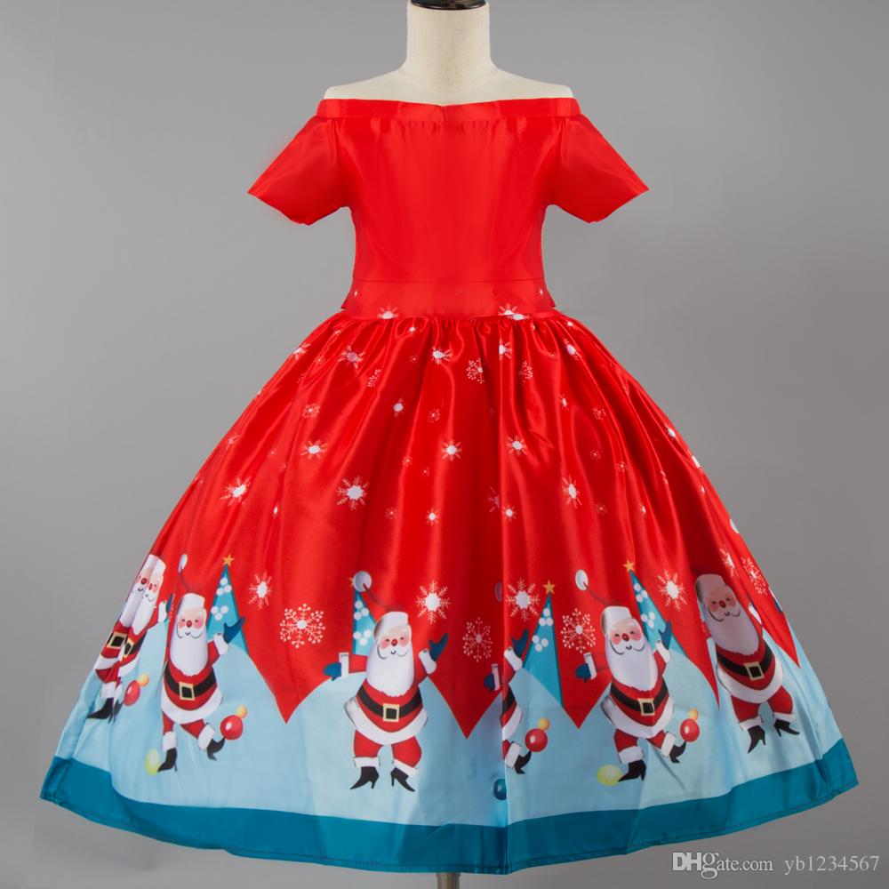 97559ce6b6c ... Vestidos para niñas Ropa linda de Navidad Rojo Moda Sin hombros Vestido  Elegante Ropa para niños ...