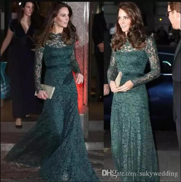 Elegant KATE MIDDLETON Evening Dresses Dark Green Lace Long Sleeves Special Occasion Dresses Formal Party Dress Red Carpet Prom Dresses