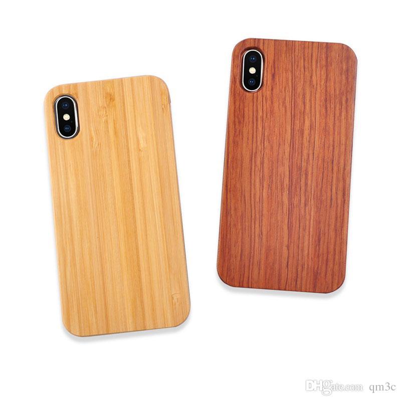 Diseño de logotipo personalizado Real Wood Case para iphone X 7 8 10 6S Plus Super Anti-knock Wooden Phone Cover PC Back Shell para Samsung S9 S8 S7