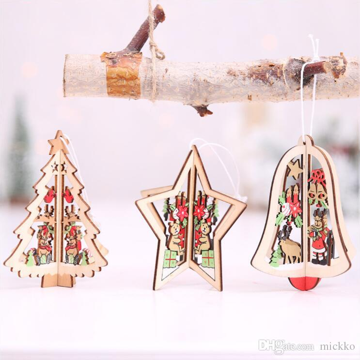 Kapalı Noel 3D Mini Ahşap Noel Ağacı Çan Yıldız Süslemeleri Bar Kulübü Noel Ağacı Süsleme Opp Paketi