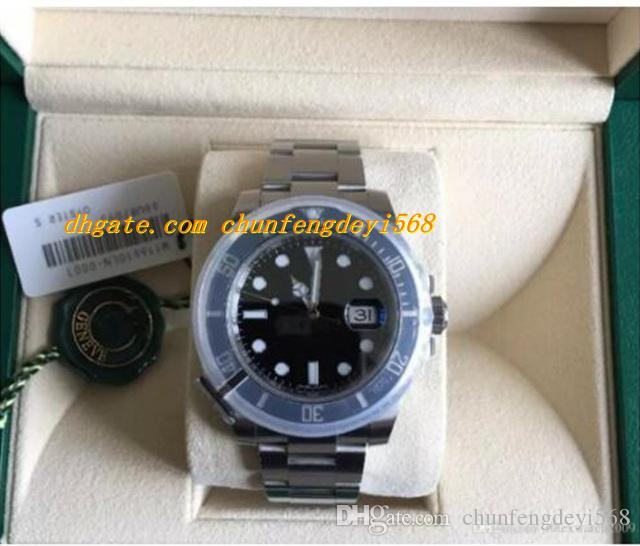 Luksusowa najwyższej jakości Oryginalne pudełko Nowy 116610LN czarny wybieranie ceramiczne bezel stalowe zegarek zegarki automatyczne męskie zegarki