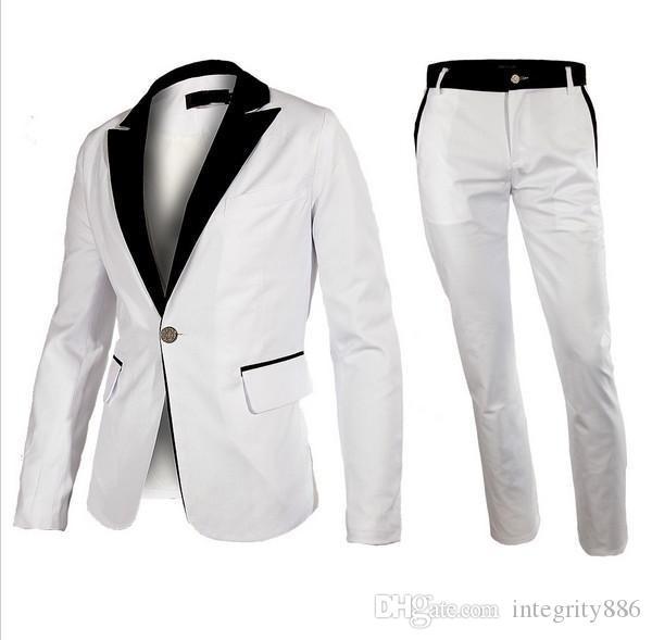 Personnaliser White One Button Marié Tuxedos Peak revers revers Vent garçons d'honneur Blazer Hommes Business Suit formelle de bal (veste + pantalon + cravate) 202
