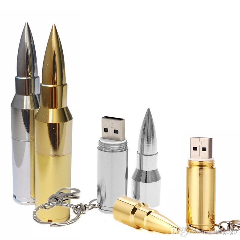 4/8/16/32 / 64GB del USB del metal de la bala 2.0 Flash Memory Pen Drive Thumb Stick U disco de almacenamiento caliente
