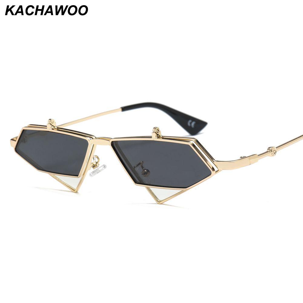 Kachawoo flip up gafas de sol hombres estilo punk rojo azul triángulo metal vintage gafas de sol para mujeres accesorios de viaje