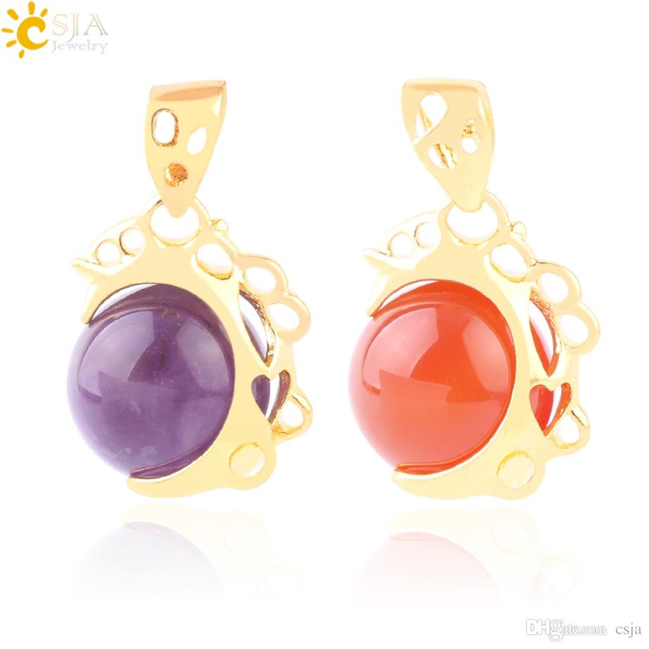 CSJA Women Gold Statement Necklace Pendant Natural Stone Gems Ball Charms Jewelry Amethyst Red Agate Pink Purple Crystal Tiger Eye Bead F626