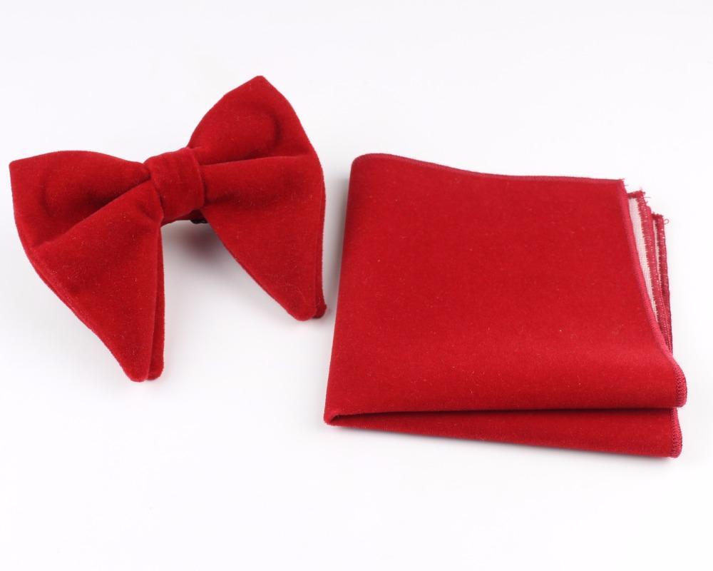 Women Solid Micro Suede Big Bowties Pocket Square Set Leather Mens Plaid Soft Cravat Handkerchief Butterfly Gravata Bow Ties