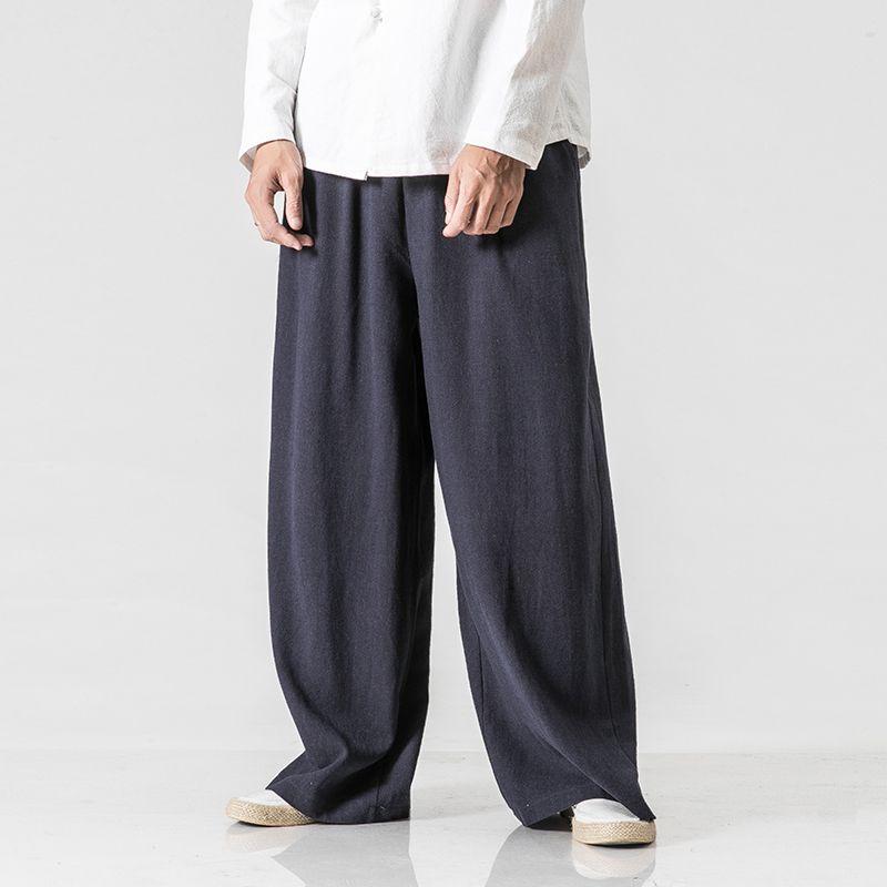 Mens Solid Wide Leg Casual bell-bottoms Pants Cotton Linen Trousers Loose Fit sz