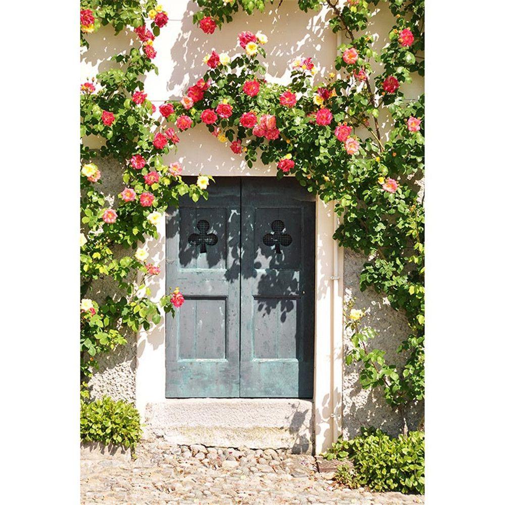 Grüne Reben Blumen Blüten Alte Tür Fotografie Kulissen Gedruckt Baby Kinder Kinder Outdoor Foto Shoot Hintergrund Steinboden