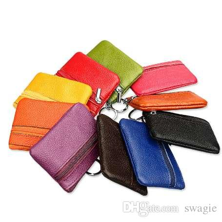 Women Men Genuine Leather Coin Purse / Key Wallet New Fashion Zipper Mini Handbag Card Holders Short Small Purse Old-school