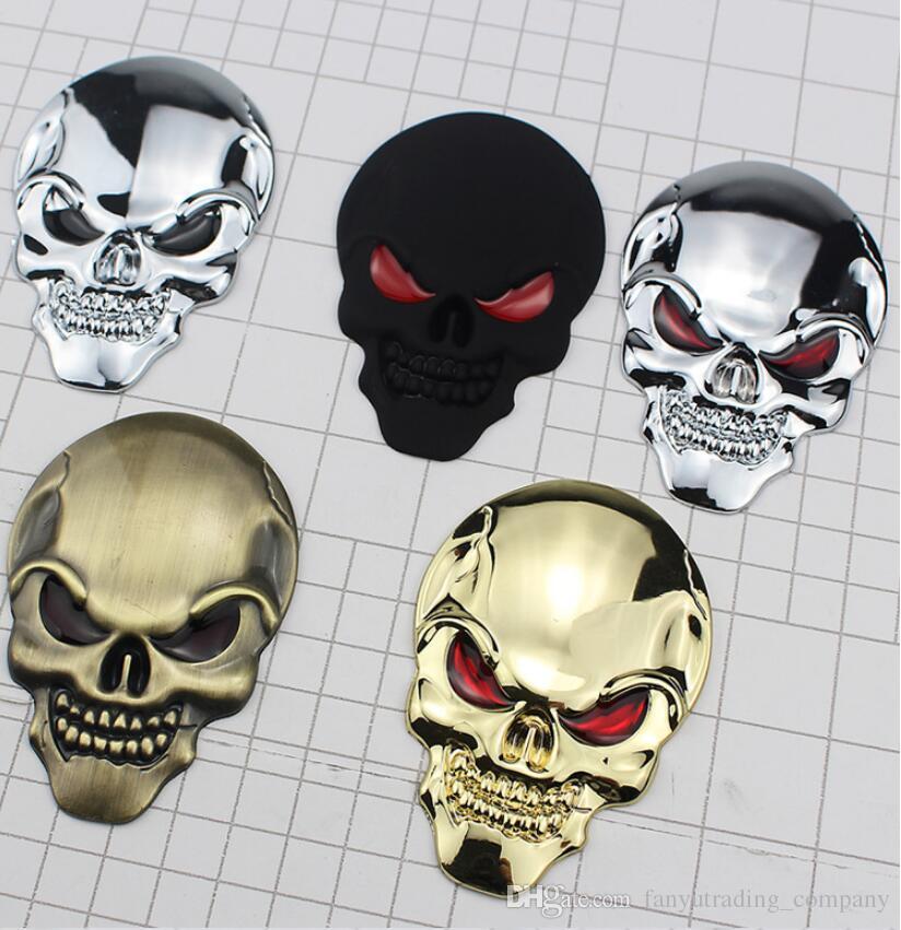 Logotipo de Halloween etiqueta engomada del coche del esqueleto del cráneo del hueso del metal del cromo 3D coche de motor de la insignia del emblema de la etiqueta engomada de la UPS DHL