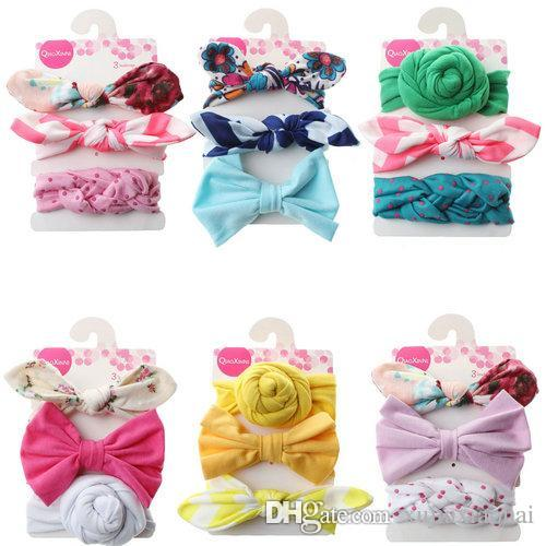 6 Styles Baby girl Bowknot Soft Headbands Colorful Flowers Printing hair band Children Birthday gift 3pcs/card