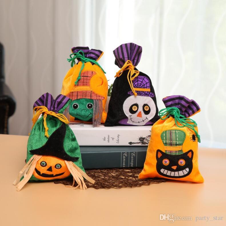 Çocuklar Cadılar Bayramı Cadı Kedi İskeleti İpli Çanta Şeker Çanta Çocuk Cadılar Bayramı Partisi Hediye Çantası Cadılar Bayramı Parti Süslemeleri