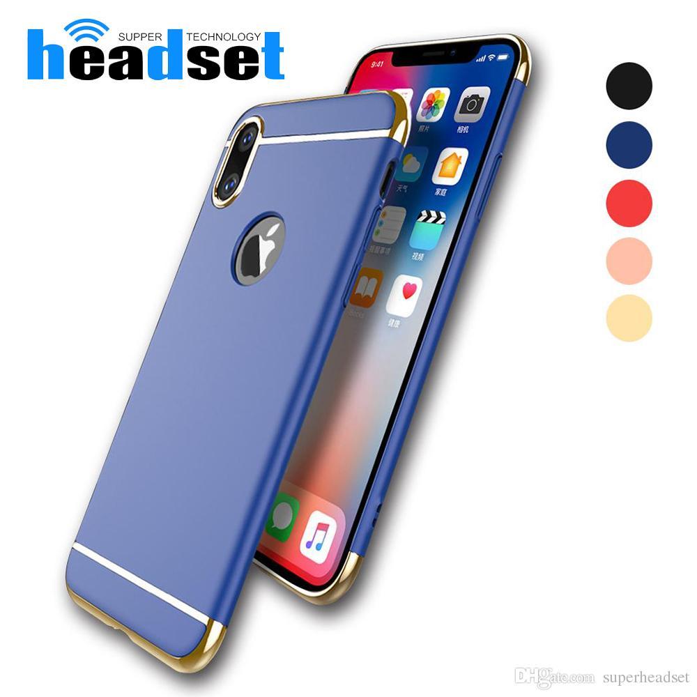 Luxe 3 en 1 plastique dur galvanoplastie arrière pour iPhone6 7 8 Plus X All Around Couvercle de protection mobile Phone Cases