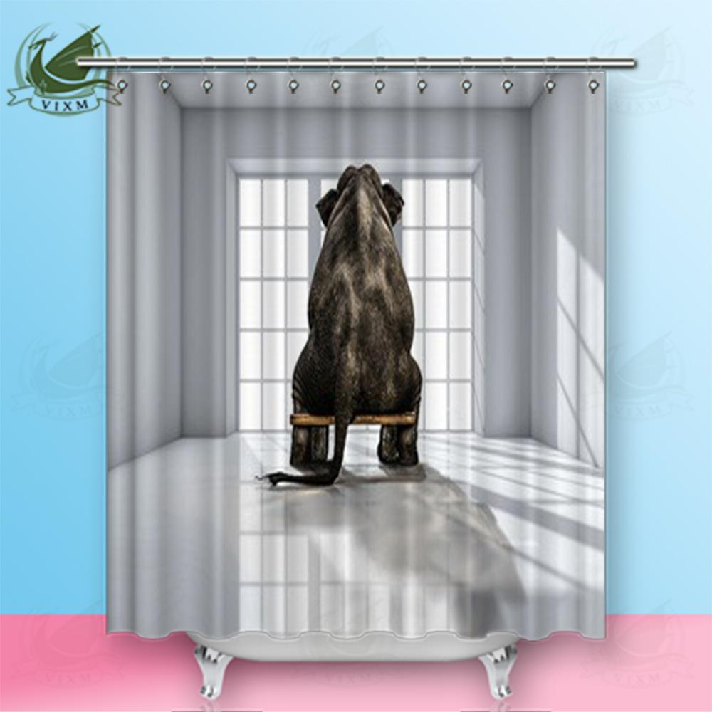"""Vixm Home Lonely Elephant In The Room Fabric Shower Curtain Retro Graphics Bath Curtain For Bathroom With Hook Rings 72"""" X 72"""""""