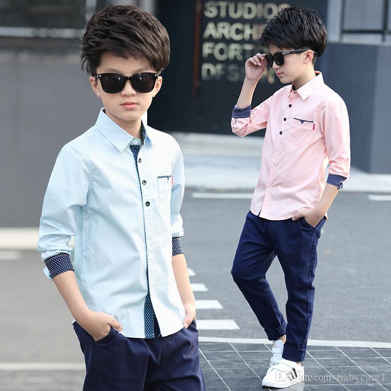 Vêtements pour enfants Printemps Garçons Automne Blouses coton enfants garçons Chemise à manches longues Chemise Mode enfants 5-15 ans Turn-down col