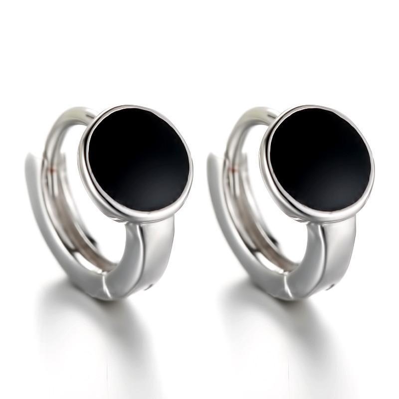 925 Sterling Silber Die neue Auflistung der koreanischen Art-Schmucksachen elegante Ohrclips runde schwarze Kristall-Mode-Ohr-Stulpe für Frauen F77
