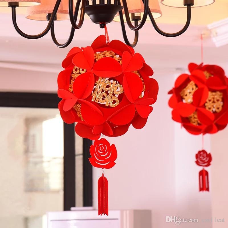 Festival de nouvel an chinois bricolage hortensia lanterne pendentif salle bar hôtel décorations de fête de mariage ornement