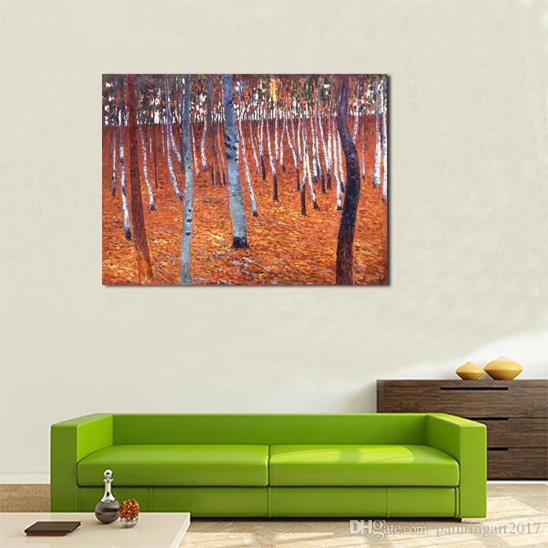 Dipinti a mano fatti a mano per soggiorno Foresta di faggio dipinti a olio moderna per la decorazione della pittura su tela