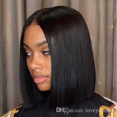 Moda sedosa recta peluca corta simulación cabello humano completo corto bob recta peluca con parte media en stock