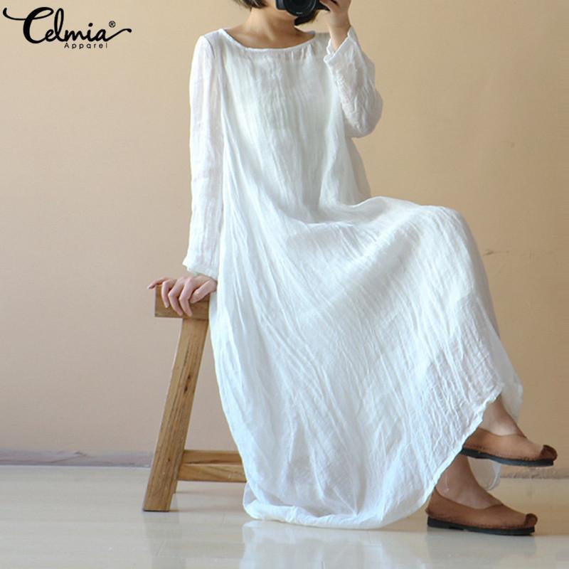 Oversized Women Vintage Cotton Linen Dress Loose Kaftan Retro Casual Long Dress