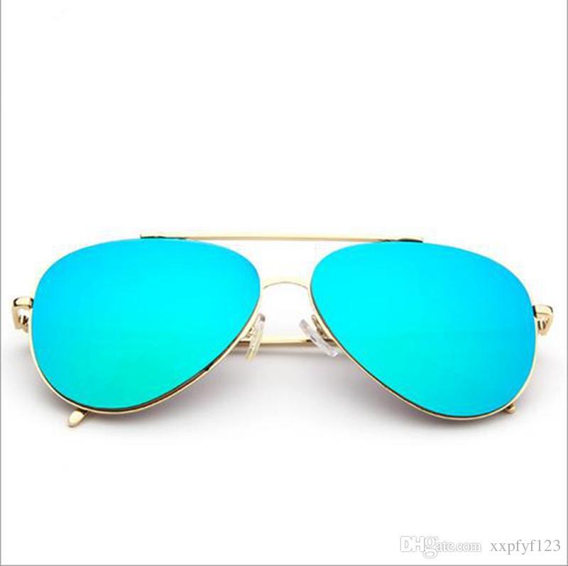 1pcs 남자 여자 디자이너 선글라스 파일럿 눈부신 개구리 태양 안경 골드 프레임 다채로운 그늘 61mm 렌 oculos 드 sol a35
