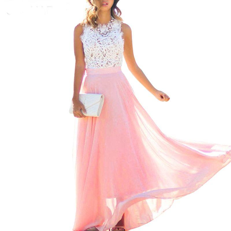 S-XXL женщины элегантное платье крючком кружева шифон пляж платье Сексуальная рукавов длинные платья макси партии