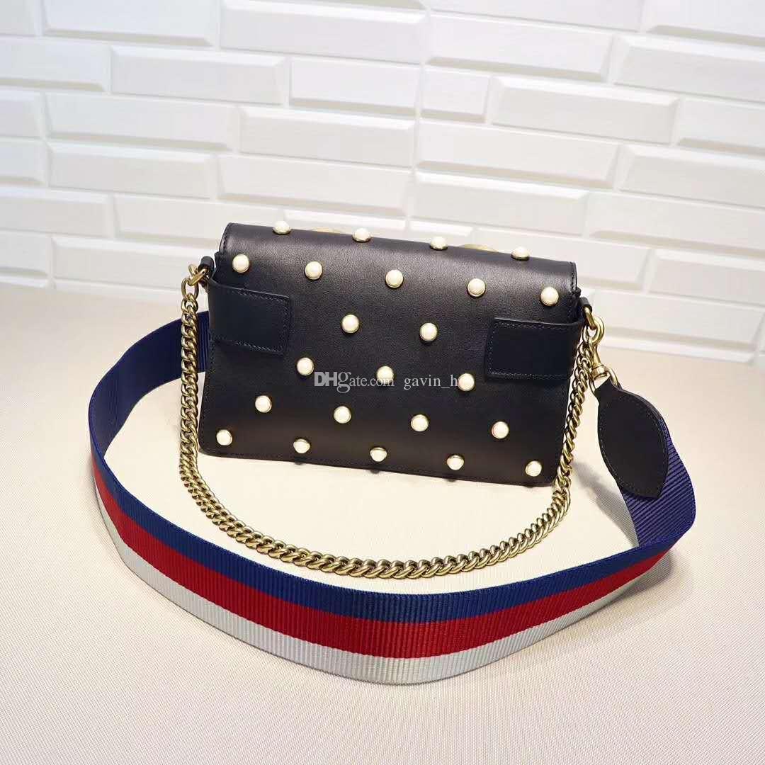 ¡Envío libre! Hight Quality Fashion 25cm bolso de cuero genuino de la perla bolso de hombro de las mujeres cadena de oro 453778
