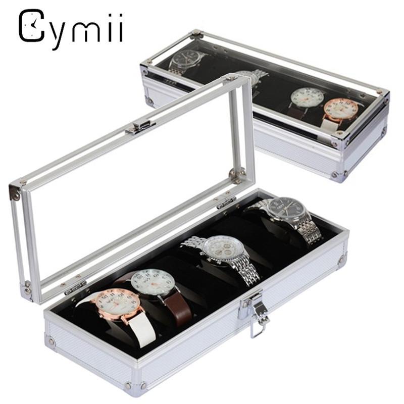 Cymii caja de reloj caja 6 cuadrícula insertar ranuras joyas relojes exhibición caja de almacenamiento caja reloj de aluminio joyería decoración