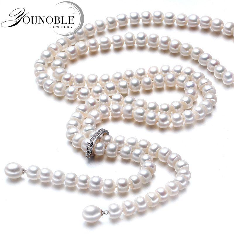 900mm vintage real largo collar de perlas mujeres, joyería de las muchachas 925 de plata natural nupcial de agua dulce blanco collares de perlas madre Y18102910