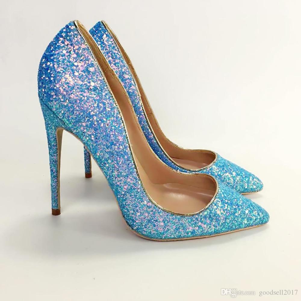Новая бесплатная доставка синий блеск блестящие горячие продажа обувь острым носом туфли на высоких каблуках насосы