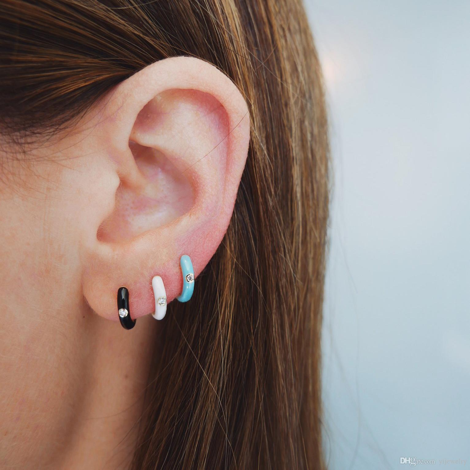 aro pequeño aro blanco negro rojo aro multicolor con esmalte colorido moda mujer regalo pendientes de joyería