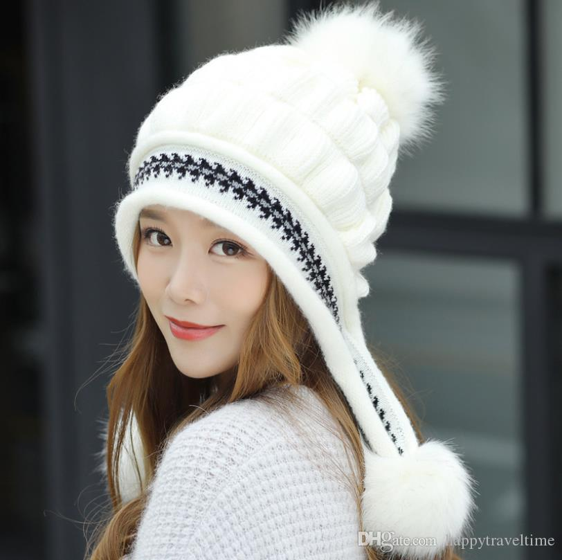 Women Peruvian Earflap Beanie Hat Cable Knitted Winter Warm Ski Cap Pompoms Hut Chapeau Sombrero
