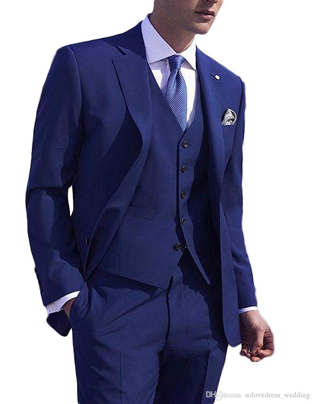 New Blue Hommes Costumes 3 Pièces formelle Soirée Costume Slim Fit entaillé Blazer revers Houndstooth smokings marié Fait sur mesure (veste + pantalon + Gilet)