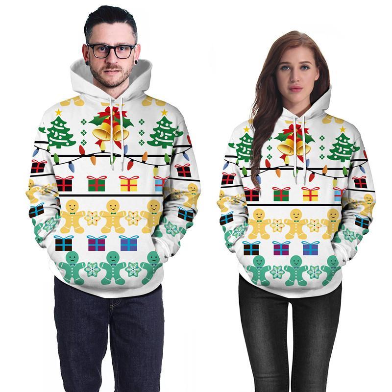 Рождественский подарок печати пары толстовки унисекс новинка топы зимний пуловер Рождество кофты полный рукав осень любовника уличной