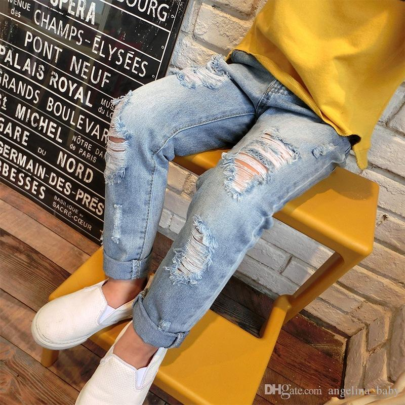 Children's denim pants 2018 New Fashion baby boys girls personality Frosted hole stretch jeans kids clothing Free Shipping