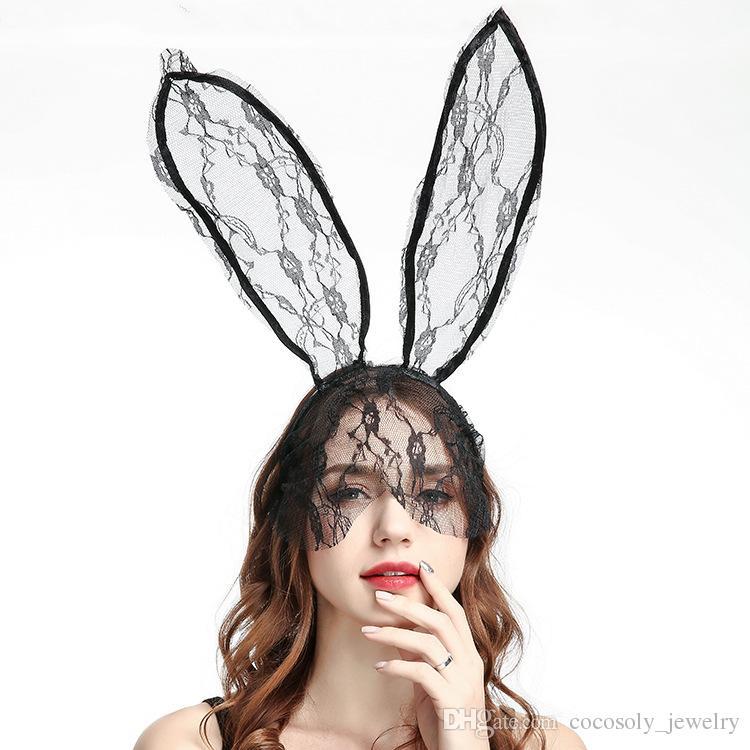 Profession En Gros À La Mode Femmes Fille Bandeaux Bandeaux Dentelle Lapin Lapin Oreilles Veil Black Eye Mask Halloween 2019 Partie Chapeaux Accessoires Pour Cheveux