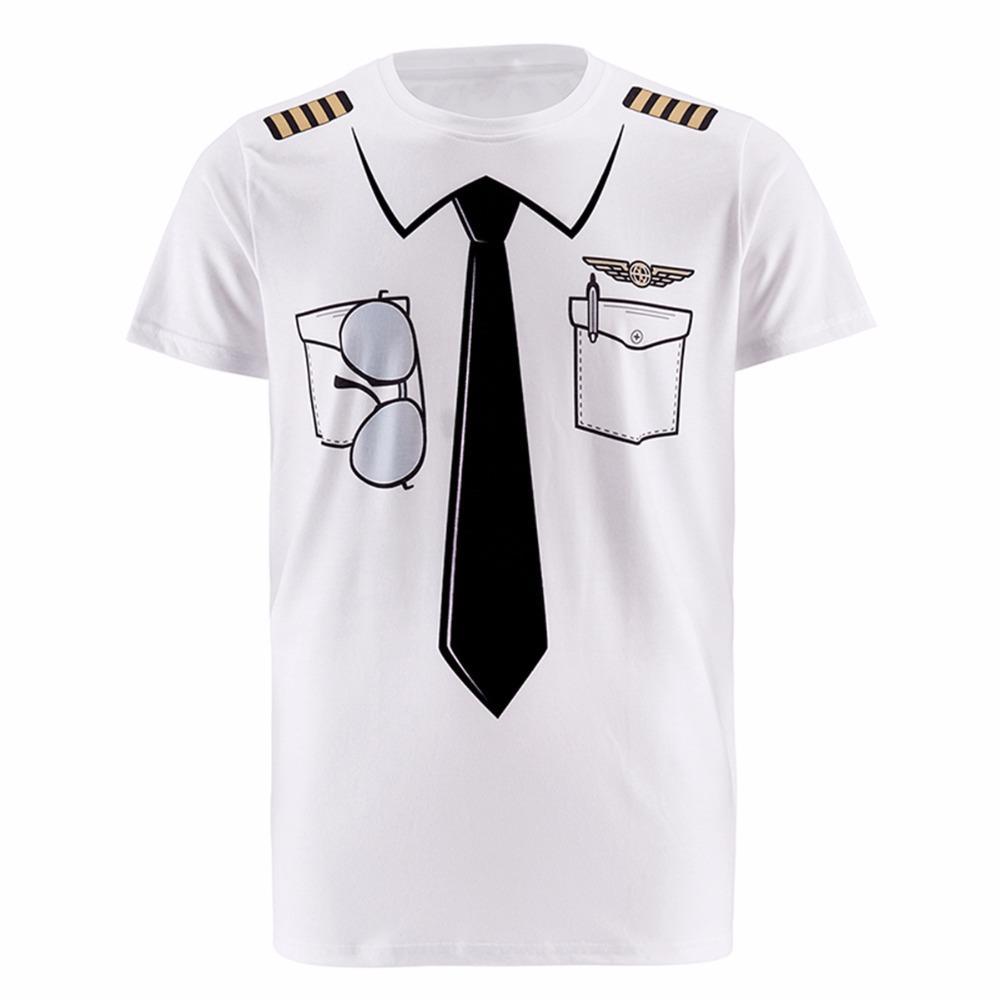 Новые мужчины пилот полиции 3d Майка доктор джентльмен взрослый смешная партия полицейский Панпкин пират моряк Санта-Клаус карнавал косплей О-образным вырезом одежда