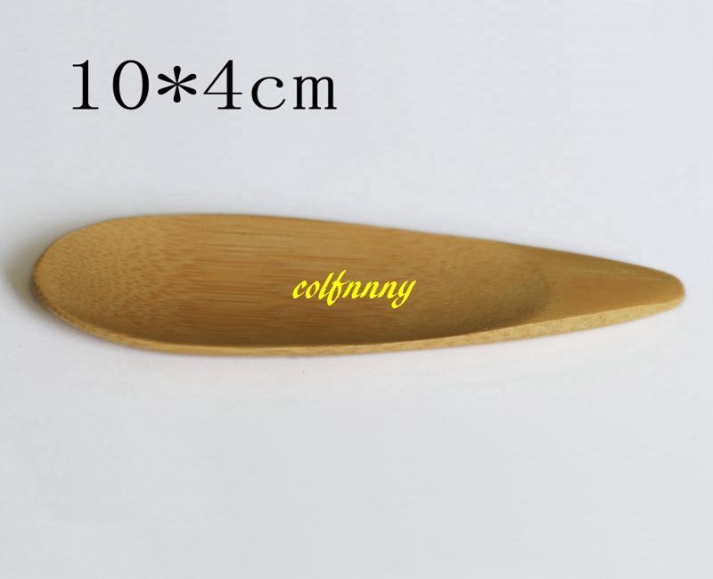 200pcs / lot 10x4cm Cucharas de té de cuchara de bambú natural Mini mango corto Cuchara de té de helado Herramientas de té ecológicas