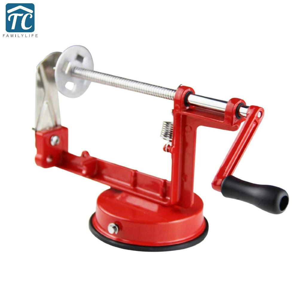 Potato Spiral Cutter Twisted Apple Slicer Red French Fry Manual Stainless Steel Kitchen Tools Shredders Slicers Fruit Vegetable
