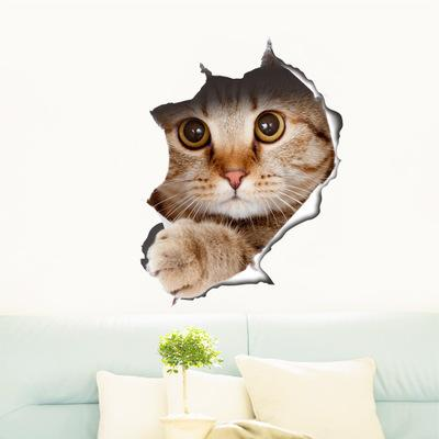 Gatos Etiqueta de la pared 3D Pegatinas de aseo Vista del agujero Perros vivos Cuarto de baño Decoración del hogar Animal calcomanías de vinilo Arte Etiqueta de la pared Poster