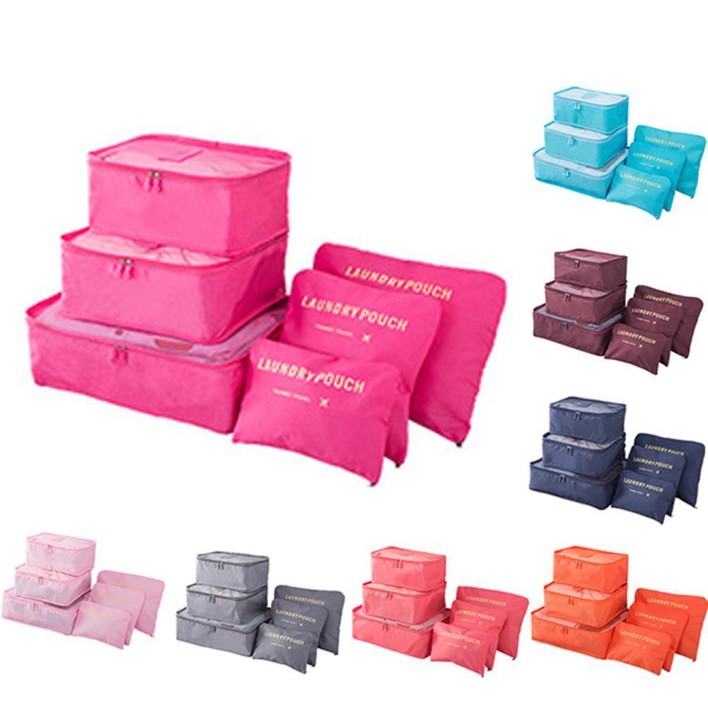 banabanma 6pcs / set de almacenaje del recorrido, bolso en bolso de equipaje Organizador Cube bolsos del embalaje para ropa