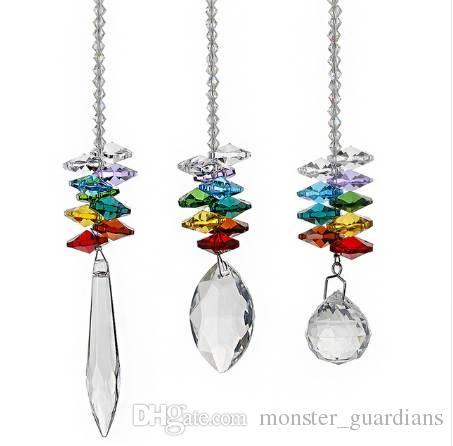 H&D 3pcs/set Crystal Ball Pendant Accessories Colorful Octagonal Hanging Drop Pendant Suncatcher Parts Wedding Home Decor