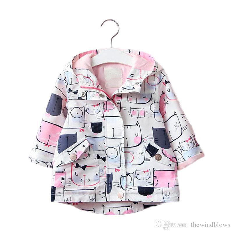 ربيع الخريف سستة سترة للفتيات الأطفال معطف الكرتون الطفل هوديس الاطفال قميص سترة واقية طويلة الأكمام سترة