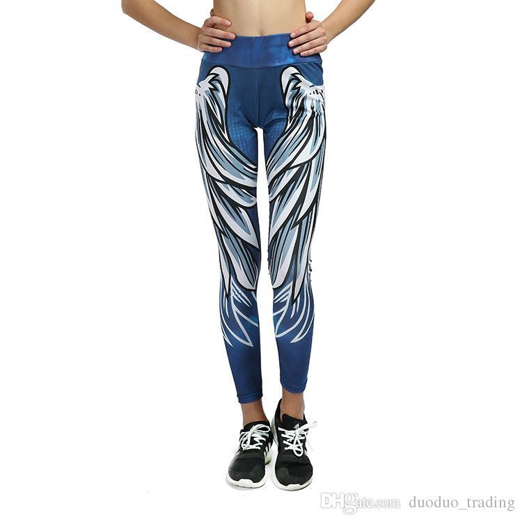Yeni 3D Kanatları Baskılı Yoga Pantolon Ince Elastik Bel Spor Tayt Spor Salonu Egzersiz Koşu Koşu Tayt Tayt Sıcak ürünler Slim fit