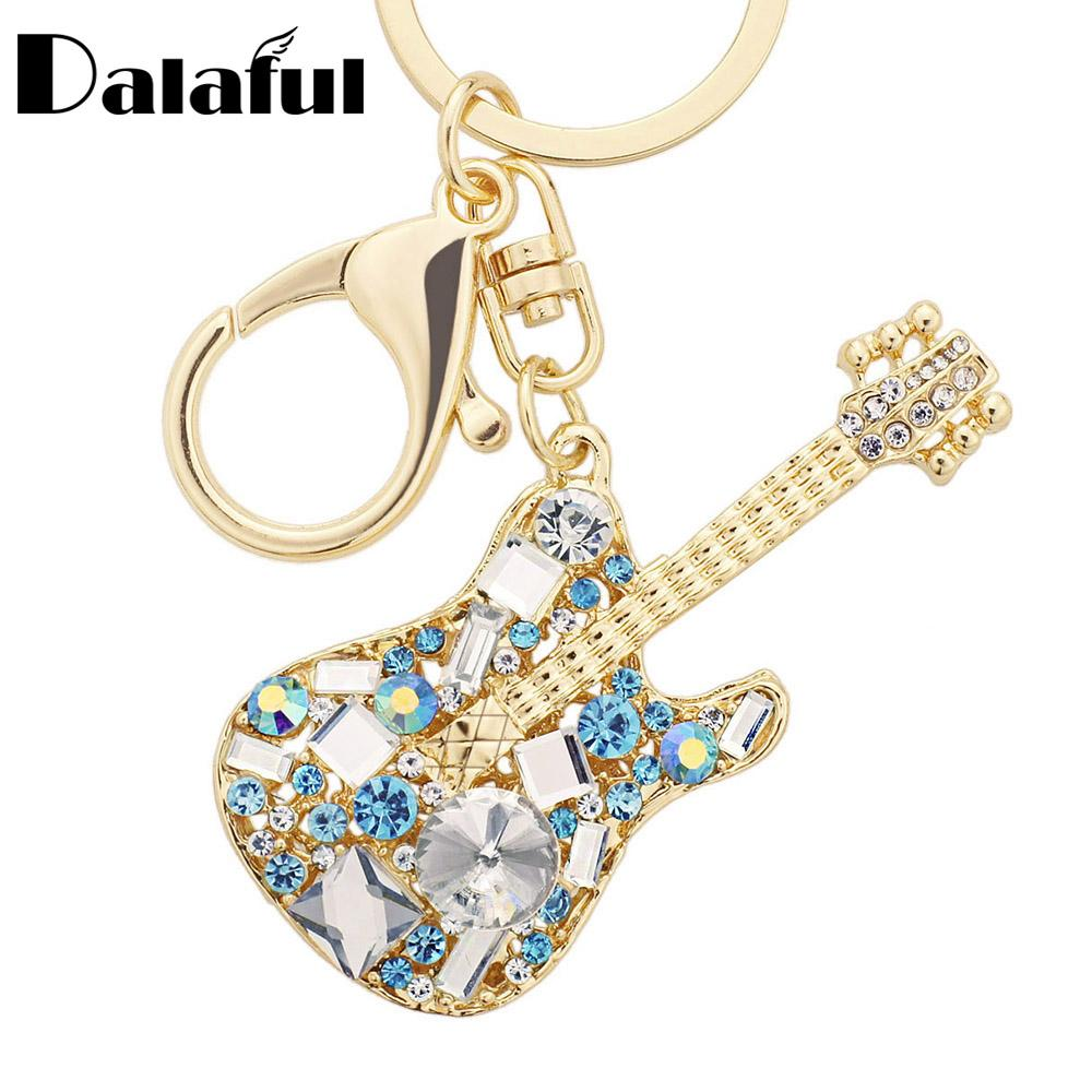 beijia Unique Guitar Crystal Rhinestone Keychains Purse Bag Buckle HandBag Pendant For Car Keyrings Women Key Chains K255